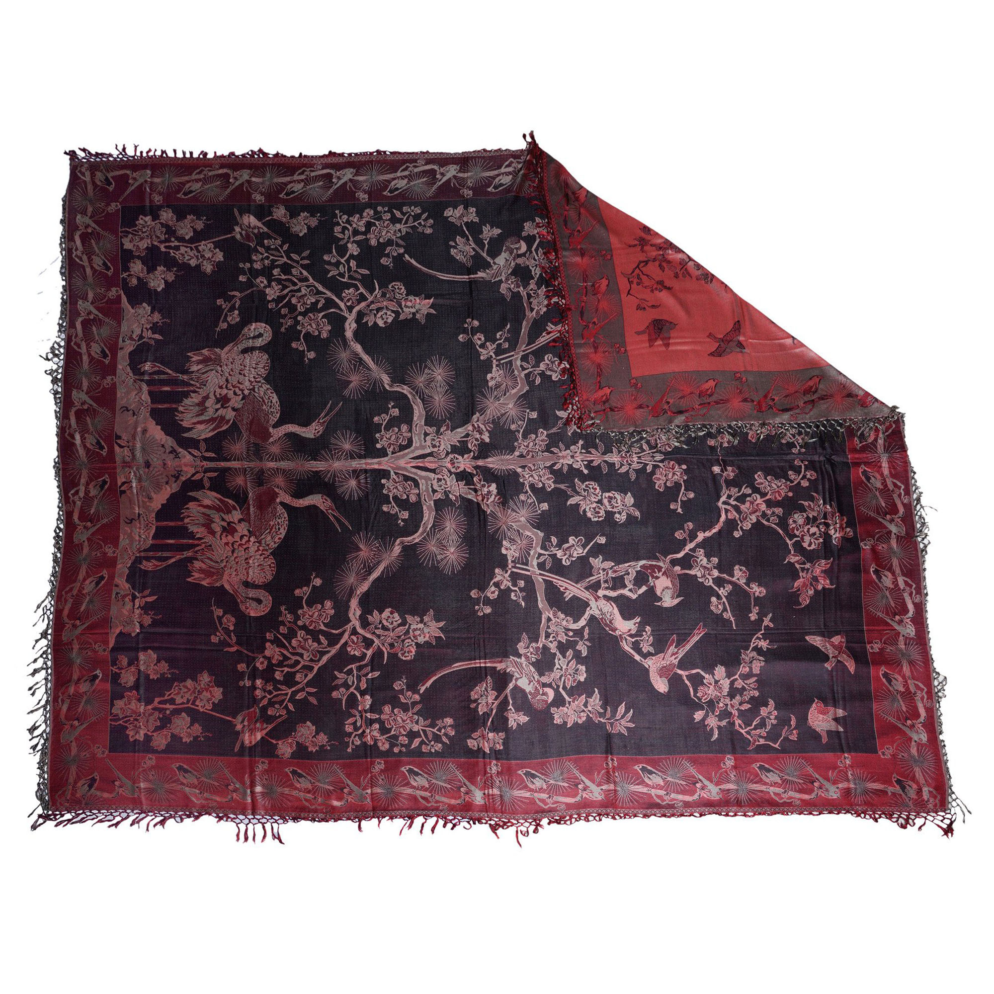 Banyan Red / Black Charming Silk Throw 2