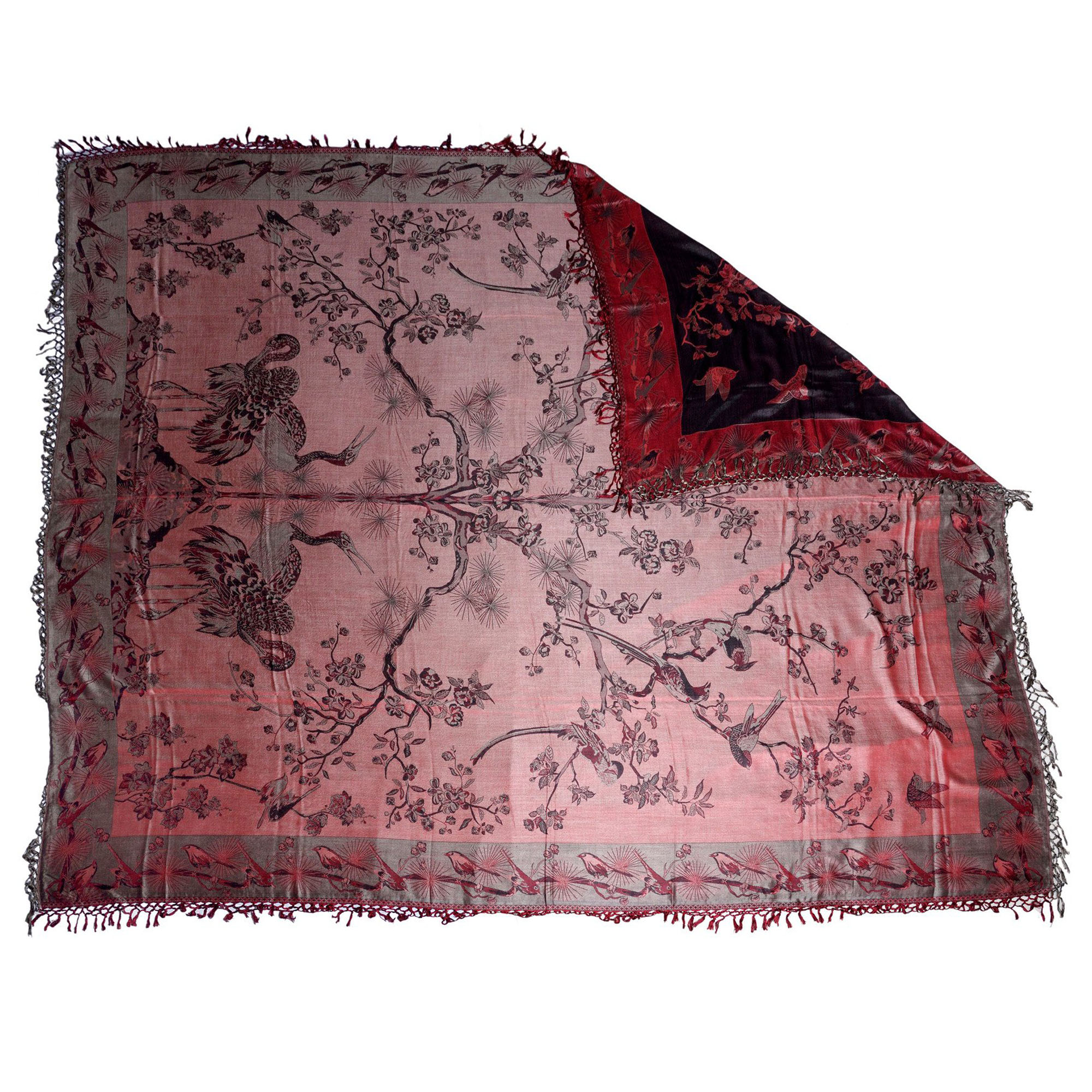 Banyan Red / Black Charming Silk Throw 3