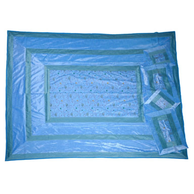 Evocative Blue Artificial Silk Hand Embroidery Bedcover 4