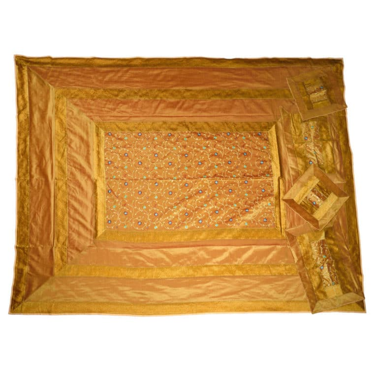 Evocative Gold Artificial Silk Hand Embroidery Bedcover 3