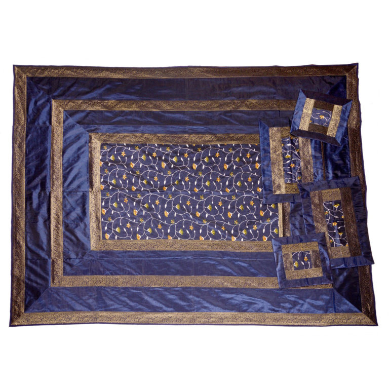 Evocative Navy Artificial Silk Hand Embroidery Bedcover 3