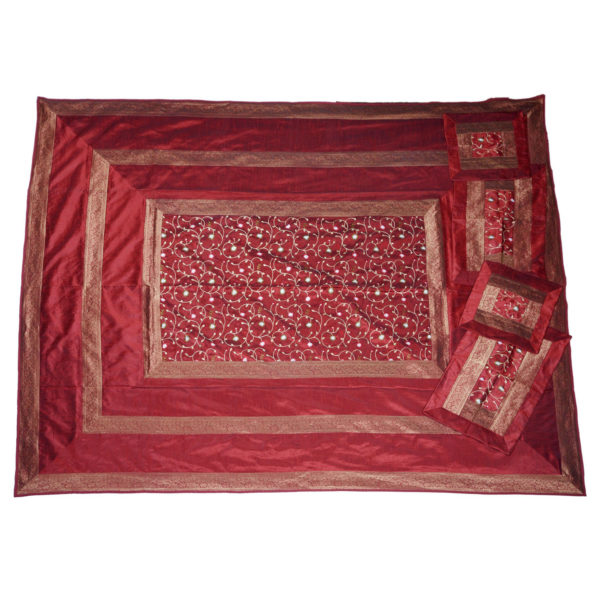 Evocative Red Artificial Silk Hand Embroidery Bedcover 1
