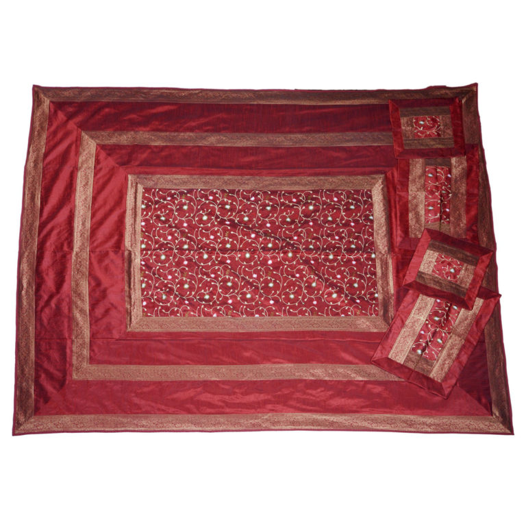 Evocative Red Artificial Silk Hand Embroidery Bedcover 3
