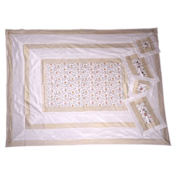 Evocative White Artificial Silk Hand Embroidery Bedcover 1