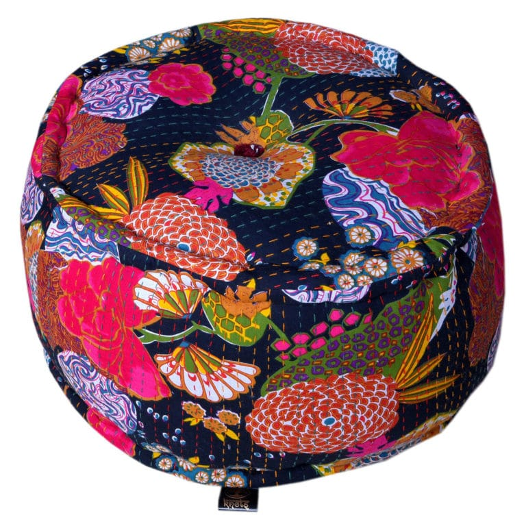 Heritage Black Cotton Flower Printed Pouffe 2