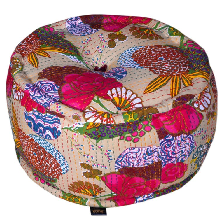 Heritage Cream Cotton Flower Printed Pouffe 3