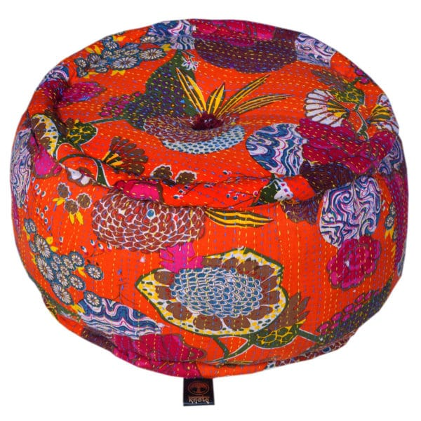 Heritage Orange Cotton Flower Printed Pouffe 1