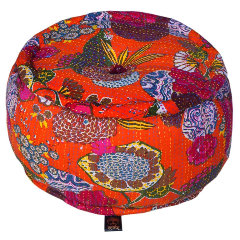 Heritage Orange Cotton Flower Printed Pouffe 4