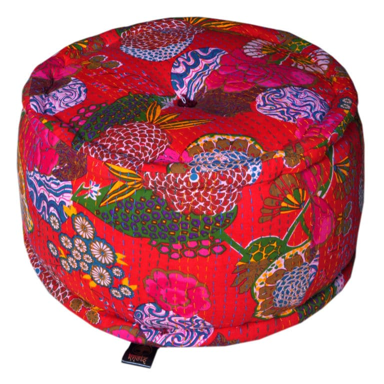 Heritage Red Cotton Flower Printed Pouffe 3