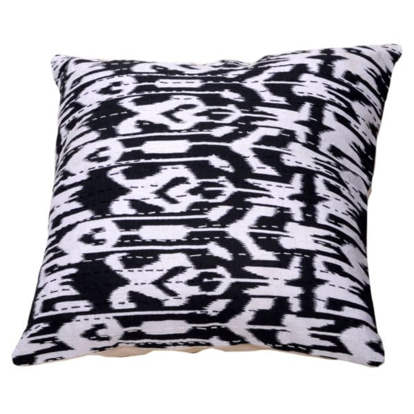 Indian Artisan Black Printed Cushion 1