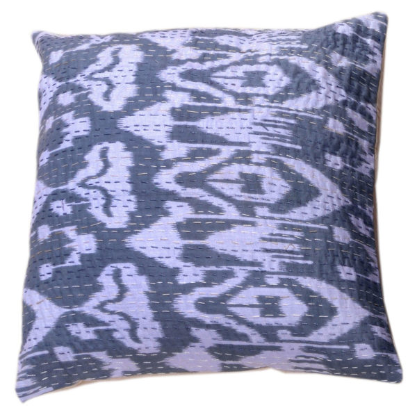 Indian Artisan Grey Printed Cushion 1