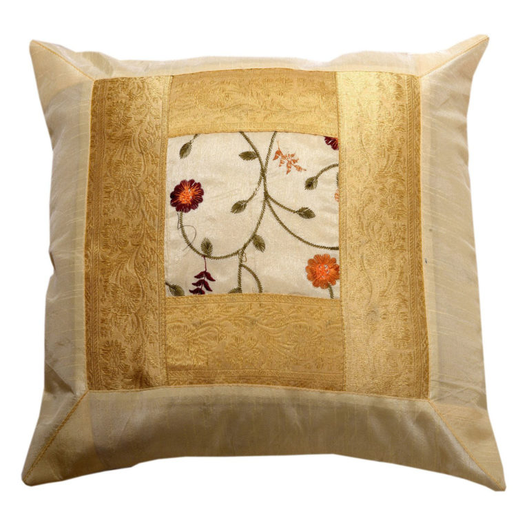 Indian Cream Floral Artificial Silk Cushion 1