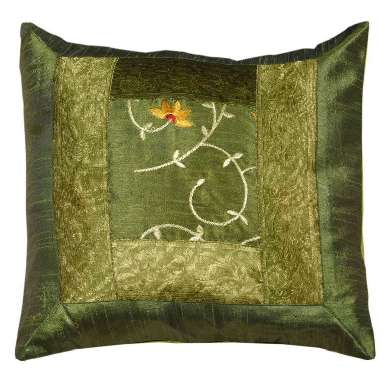 Indian Green Floral Artificial Silk Cushion 1