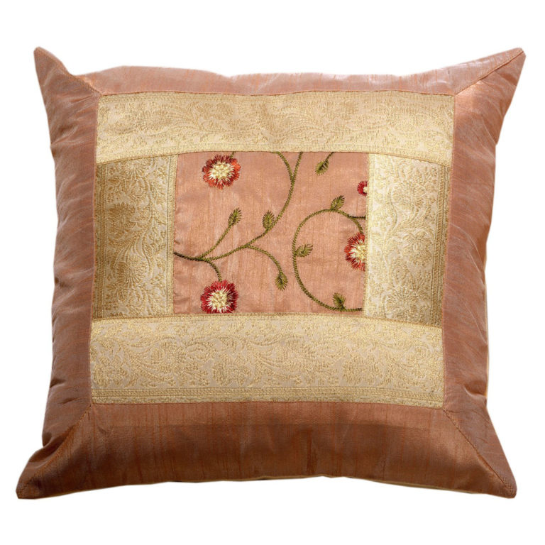 Indian Peach Floral Artificial Silk Cushion 2