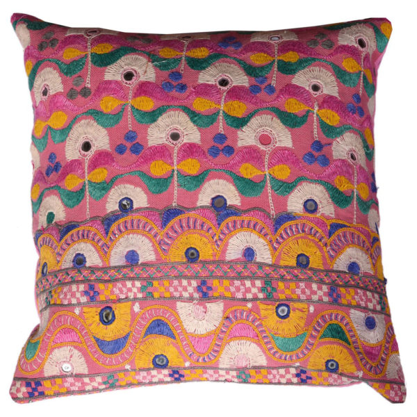 Indian Vintage Artisan Pattern Embroidery Cushion 1