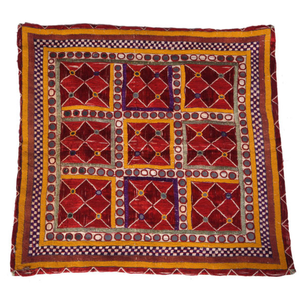 Indian Vintage Geometric Pattern Embroidery Cushion 1