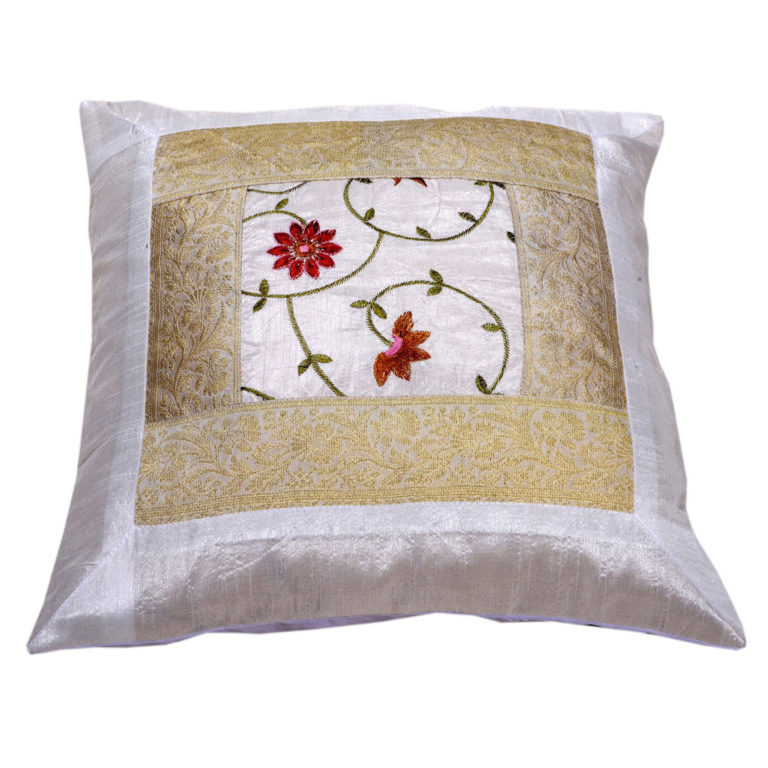 Indian White Floral Artificial Silk Cushion 2