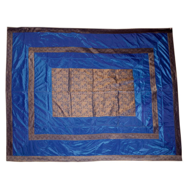 Rajasthan Blue Artificial Silk Bedcover 4