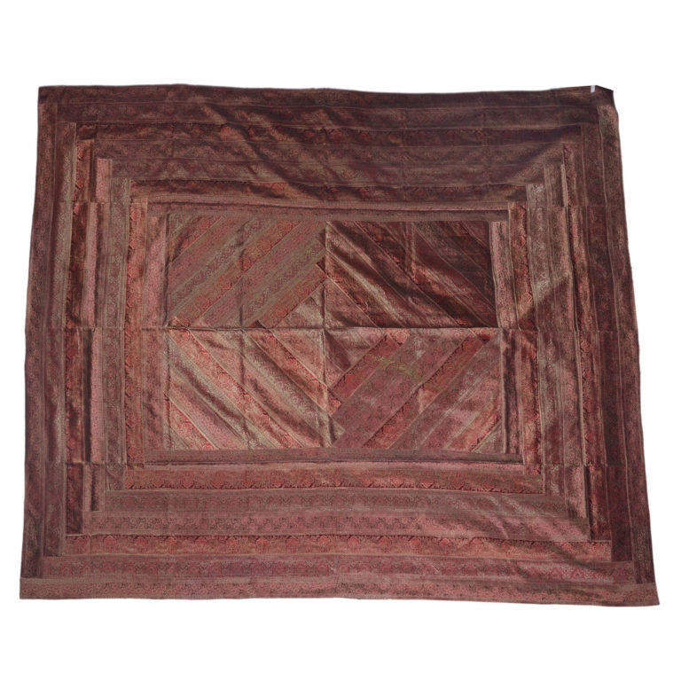 Rajasthan Brown Artificial Silk Bedcover 4