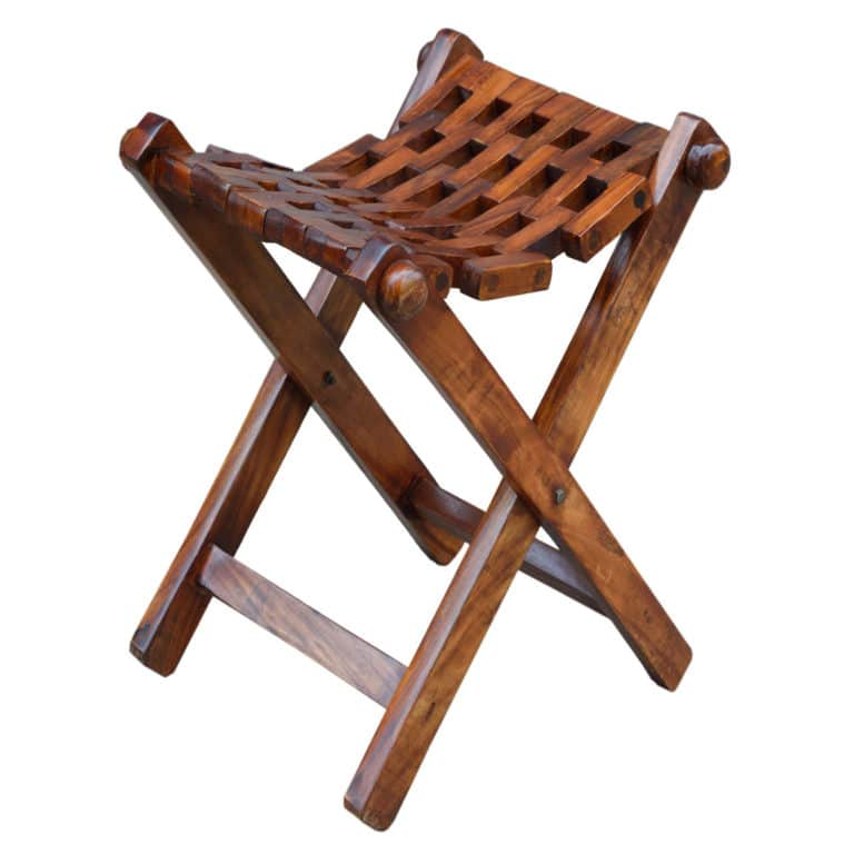 Sheesham Brown Folding Stool 7