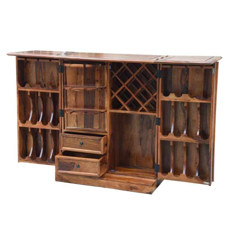 Sheesham Brown Wine Cabinet 4
