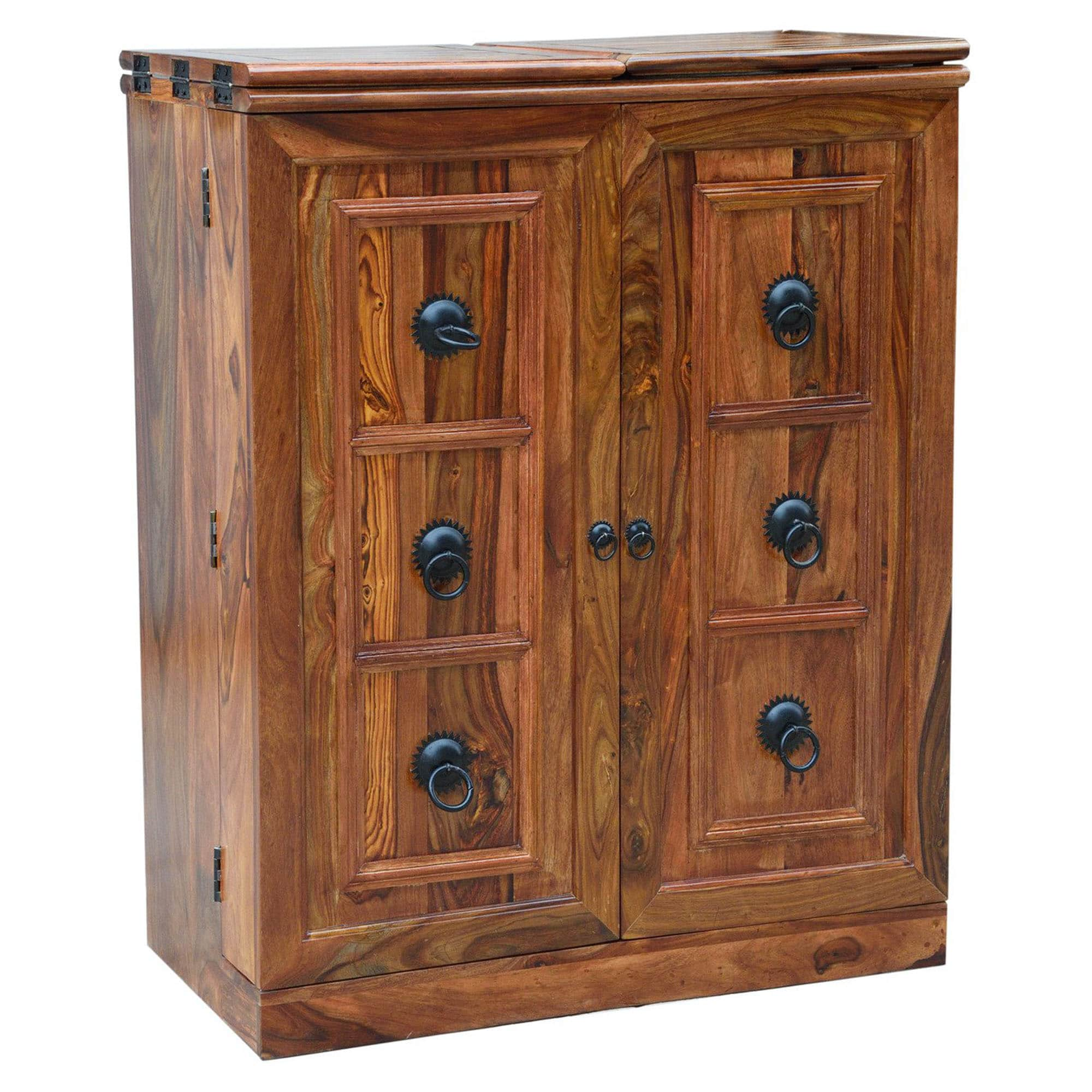 Sheesham Brown Wine Cabinet 6