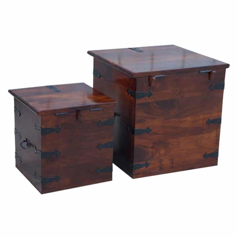Sheesham Dark Dual Storage Box 5