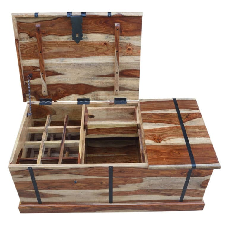 Sheesham Natural Wine Chest with Storage 4