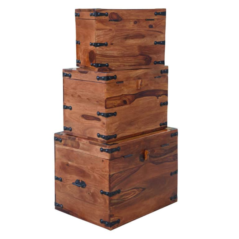 Sheesham Triple Storage Boxes 9
