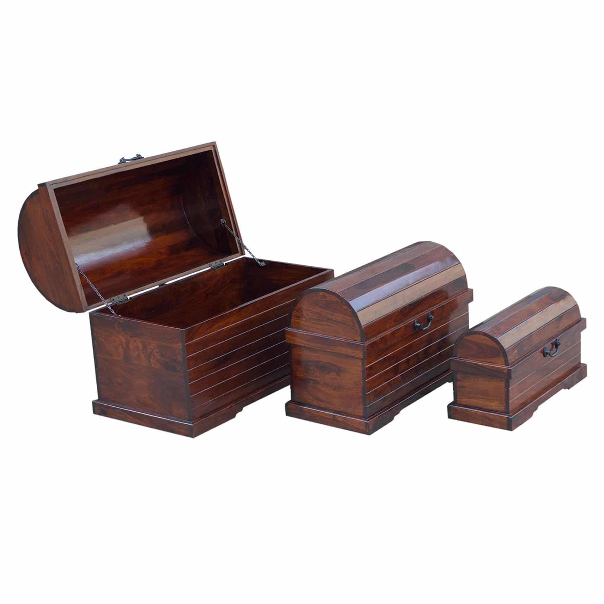 Sheesham Triple Storage Chests 6