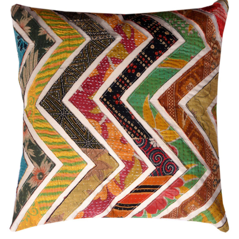 South Asian Zig-Zag Kantha Cushion 3