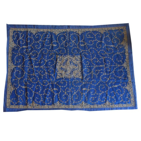 Zardogi Blue Raw Silk Bedcover 1