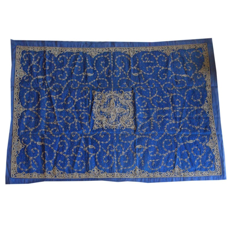 Zardogi Blue Raw Silk Bedcover 3