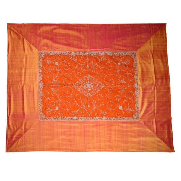 Zardogi Orange Raw Silk Bedcover 1
