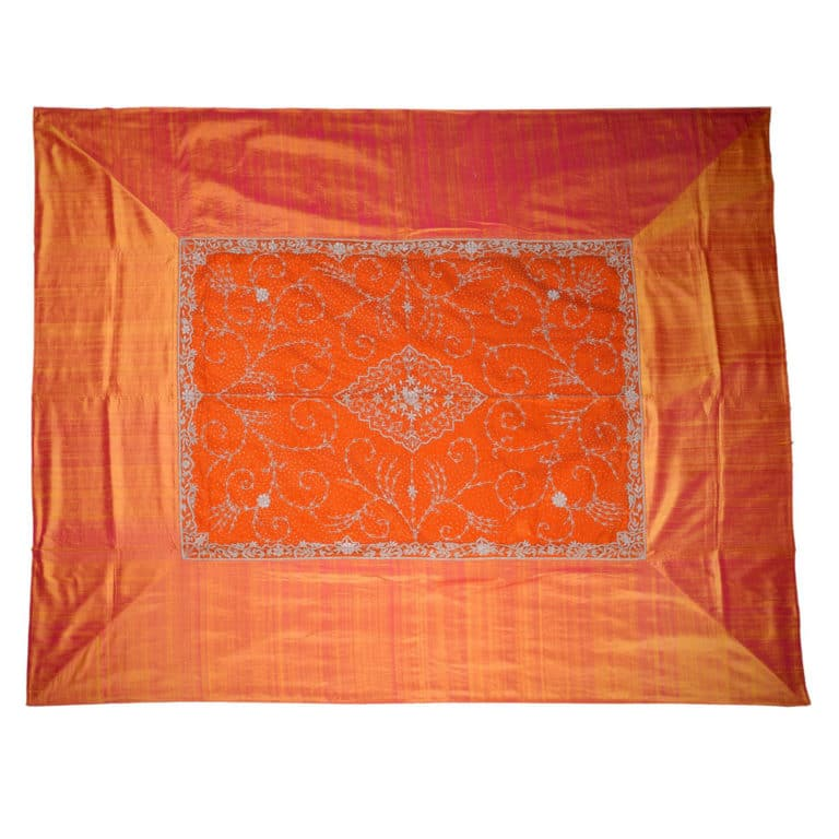 Zardogi Orange Raw Silk Bedcover 4